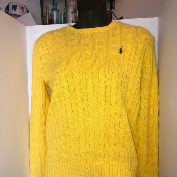 Polo By Ralph Lauren Sweaters Polo Ralph Lauren Yellow Cable Knit Sweater Men Poshmark